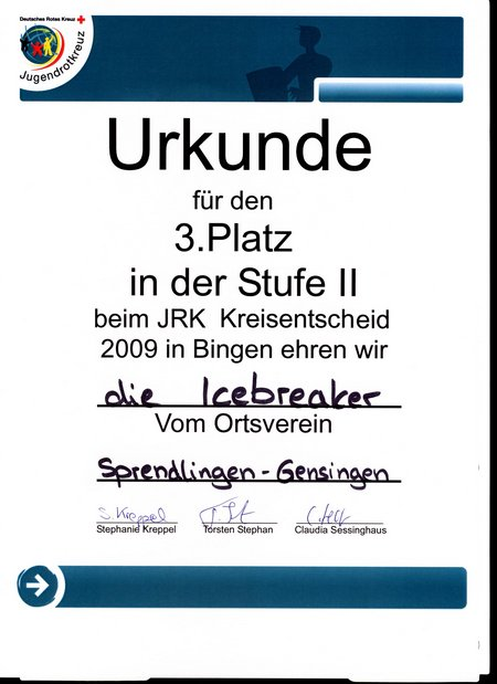 20090426 Urkunde JRK Kreisentscheid