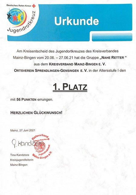 20210627 Urkunde JRK Kreisentscheid
